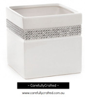 Ceramic Square Diamante - White