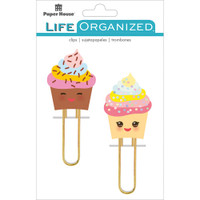 Paper House Life Organized - Puffy Clips - Set of 2 - Kawaii Cupcakes