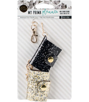 My Prima Planner -  Prima Traveler's Journal Mini Charms - Set of 2 - Black & Gold Glitter
