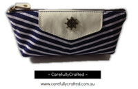 Nautical Fabric Pencil Case - Medium - Dark Blue