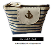 Nautical Fabric Pencil Case - Small - Light Blue