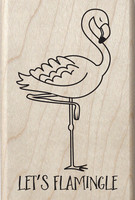 Hampton Art - Mounted Rubber Stamp - Let's Flamingle