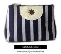 Nautical Fabric Pencil Case - Large - Dark Blue