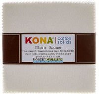 Robert Kaufman Fabric Precuts - Charm Pack - Kona Cotton - White Colorstory