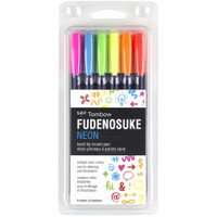 Tombow - Fudenosuke Neon Brush Pens  - Set of 6