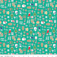 Riley Blake Fabric - Cozy Christmas - Lori Holt - Teal #C5360