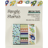 Carpe Diem - Simple Stories - Birthday Blast Washi Tape - Set of 3