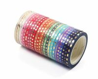 Foil Gold Rainbow Skinny Thin (3mm) Washi Tape - Set of 24