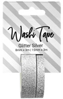 PA Essentials Washi Tape - Set of 2 - Glitter Silver