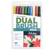 Tombow - Dual Brush Pen Art Markers - Set of 10 - Holiday Edition
