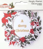 Carpe Diem - Simple Stories - Country Christmas - Floral Bits & Pieces Die-Cuts