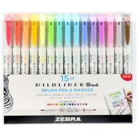 Zebra Mildliner Double Ended Brush Pen & Marker - Set of 15