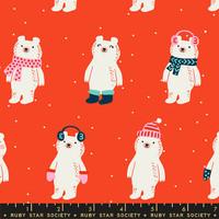 Moda Fabric - Ruby Star Society - Flurry Snow Bears Ruby #RS5028 12