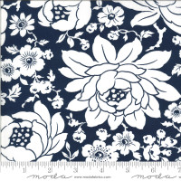 Moda Fabric - Shine On - Bonnie & Camille - Mums Navy #55210 17
