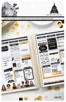 Craft Smith - Capitol Chic Designs - Sticker Book - Black & Gold Weekly Layout