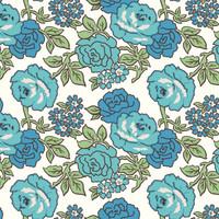 Riley Blake Fabric - Wide Backing - Flea Market by Lori Holt - Roses Blue #WB10232R-BLU