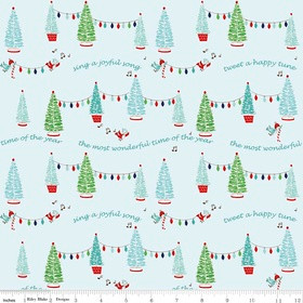 Riley Blake Fabric Pixie Noel Joyful Trees Aqua HALF METRE