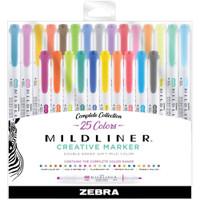 Zebra Mildliner Double Ended Highlighters - Set of 25