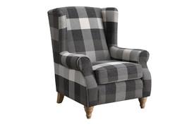 9054 Black Check Armchair