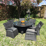 7 Piece Dark Rattan Dining Set