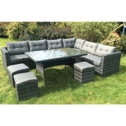 10 Piece Dark Rattan Dining Set