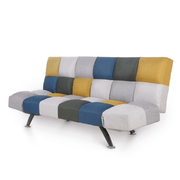 Boston Sofa Bed-Mustard/ Blue Patchwork