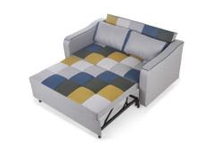 Aspen Sofa Bed-Mustard/ Blue Patchwork
