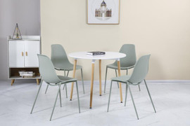 Lindon Dining Set-White/ Natural Oak/ Green