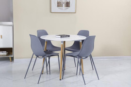 Lindon Dining Set-White/ Natural Oak/ Grey