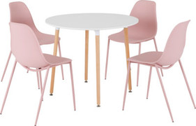 Lindon Dining Set-White/ Natural Oak/ Pink