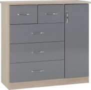 Nevada 5 Drawer Low Wardrobe-Grey