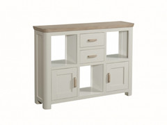 Treviso Painted Low Display Unit With Wooden Handles