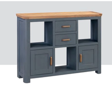 Terviso Oak Low Display Unit with Wooden Handles-Midnight Blue
