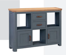 Terviso Oak Low Display Unit with Metal Handles-Midnight Blue