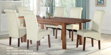 Andorra Ext Dining Set (165 cm) with Sophie Cream Chairs