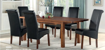 Andorra Ext Dining Set (165 cm) with Sophie Black Chairs