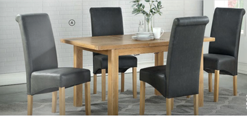 Andorra Washed Oak Ext. Dining Set With 4 Chairs