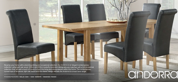 Andorra Washed Oak Ext. Dining Set With 6 Chairs