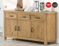 Andorra Washed Oak 3 Door Sideboard