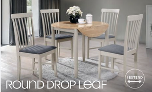 Altona Round Drop Leaf Dining Set with 4 Chairs