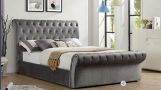Chester 4'6 Bed-Grey Velvet