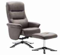 Texas Swivel Reclining Chair and Footstool-Grey