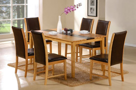 5ft Daytona Set 5ft Dining Table and 6 Daytona Dining Chairs  Solid Wood Light Maple and Walnut Colour