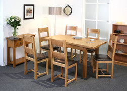 Calgary Oak Ext Dining Table with 6 Calgary Oak Dining Chairs Set