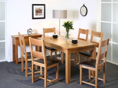 Calgary Oak 5ft Dining Table with 6 Calgary Oak Dining Chairs Set  Solid Oak Table L150cm x W90cm with 6 Solid Oak Chairs with Brown Faux Leather Seat
