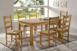 Edward Dining Set Table with 6 Edward Ladder Backed Dining Chairs  Solid Wood Honey Colour