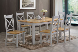 Rochester Dining Set Painted French Grey Colour Dining Table with 6 Dining Chairs  Solid Wood Set Table Tops 30mm Thick L150cm X W90cm  with 6 matching X back Dining Chairs