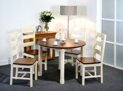Turin 107cm Round  Dining Set Table with 4 Turin Chairs  Table Cream and Walnut Colour Diametre 107cm  Dining Chair W44cm X D50cm X H100cm