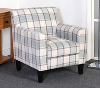Glasgow Armchair   Light Blue Tartan Fabric Armchair  W75cm X D84cm X H80cm
