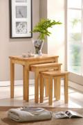Boston Nest of Tables  Solid Havea Wood Maple Colour  W55cm X D45cm X H50cm
